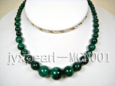 6-16mm green peacock round malachite necklace MCN001 Image 1