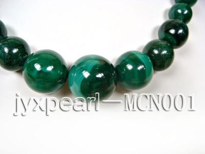 6-16mm green peacock round malachite necklace MCN001 Image 2
