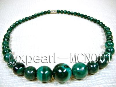 6-16mm green peacock round malachite necklace MCN001 Image 4