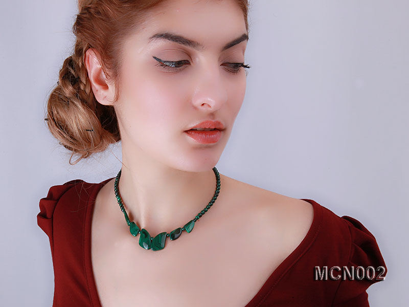 5mm Malachite Beads and Irregular Malachite Pieces Necklace big Image 6