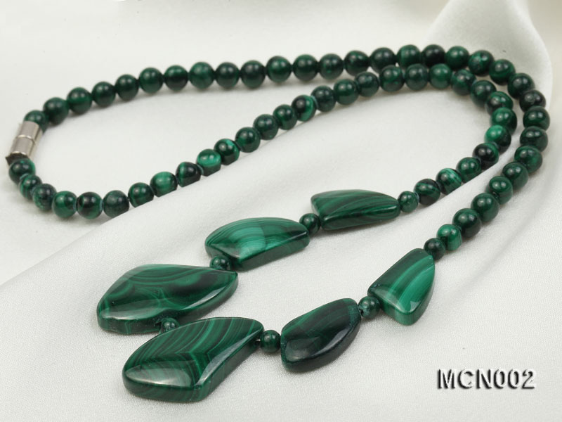 5mm Malachite Beads and Irregular Malachite Pieces Necklace big Image 7