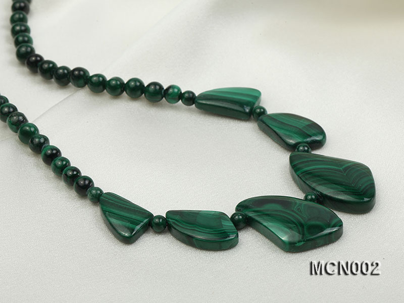 5mm Malachite Beads and Irregular Malachite Pieces Necklace big Image 8