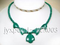 5mm green peacock round and leafy malachite necklace MCN003
