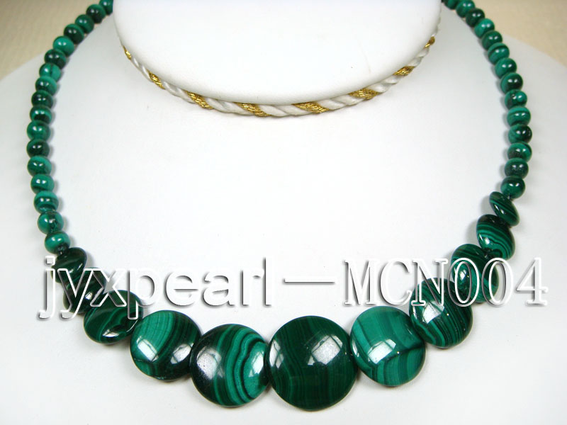 6mm Malachite Beads and Round Malachite Pieces Necklace big Image 1