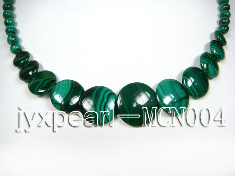 6mm green peacock round and button-shaped  malachite necklace big Image 2