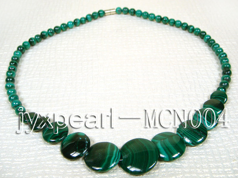 6mm green peacock round and button-shaped  malachite necklace big Image 4