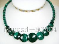 6mm Malachite Beads and Round Malachite Pieces Necklace MCN004