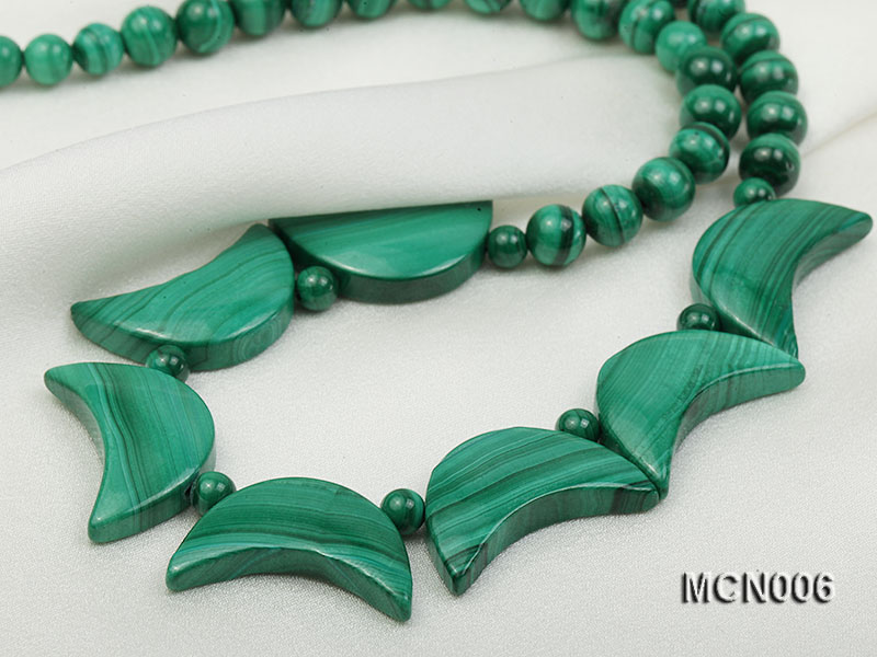 6mm Malachite Beads and Crescent-shaped Malachite Pieces Necklace big Image 2