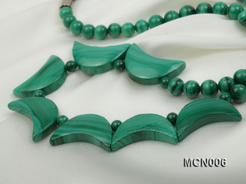6mm Malachite Beads and Crescent-shaped Malachite Pieces Necklace big Image 3