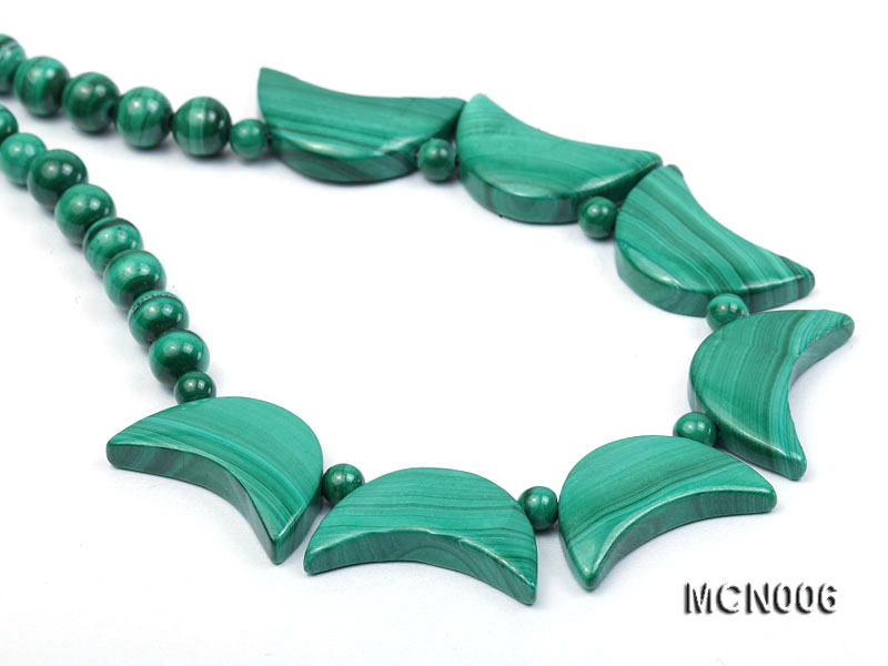 6mm Malachite Beads and Crescent-shaped Malachite Pieces Necklace big Image 7