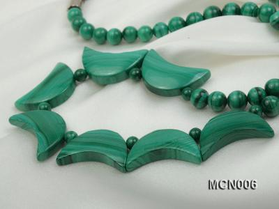 6mm Malachite Beads and Crescent-shaped Malachite Pieces Necklace MCN006 Image 3