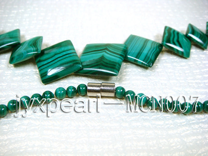 4mm Malachite Beads and Square Malachite Pieces Necklace big Image 3