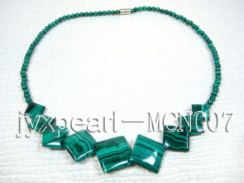 4mm Malachite Beads and Square Malachite Pieces Necklace big Image 4