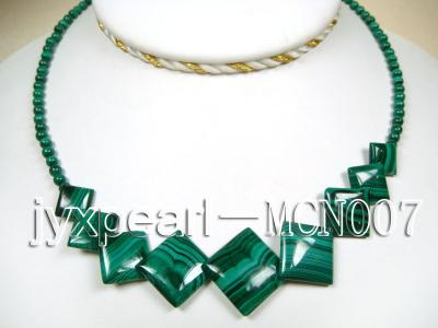 4mm Malachite Beads and Square Malachite Pieces Necklace MCN007 Image 1