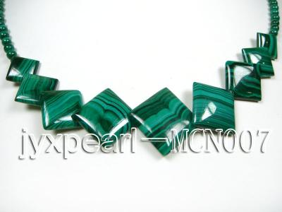 4mm Malachite Beads and Square Malachite Pieces Necklace MCN007 Image 2