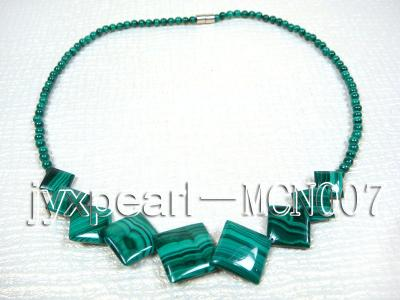 4mm Malachite Beads and Square Malachite Pieces Necklace MCN007 Image 4