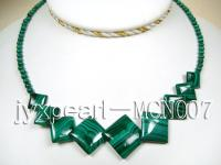 4mm Malachite Beads and Square Malachite Pieces Necklace MCN007