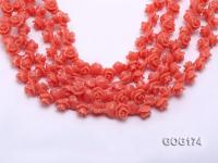Wholesale 8*11mm Orange Carved Resin Flower String GOG174