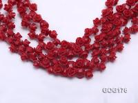 Wholesale 8*11mm Red Carved Resin Flower String GOG176