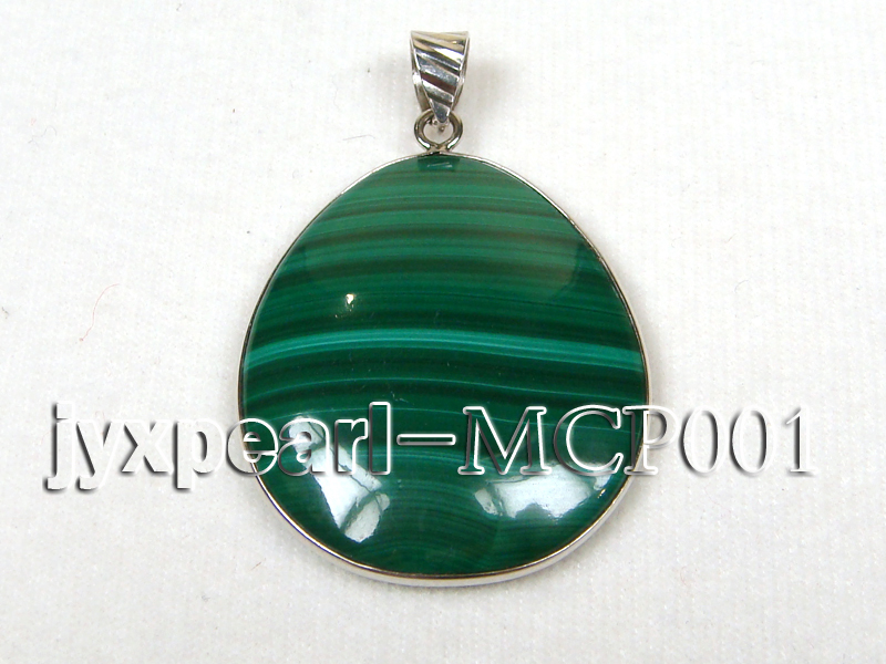 40x30mm green  drop-shaped  malachite pendant with sterling silver big Image 1