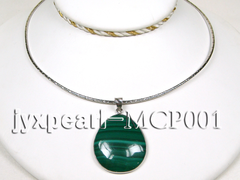 40x30mm green  drop-shaped  malachite pendant with sterling silver big Image 3