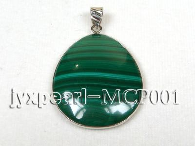 40x30mm green  drop-shaped  malachite pendant with sterling silver MCP001 Image 1