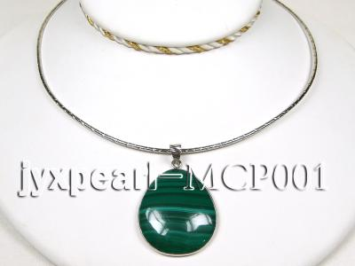 40x30mm green  drop-shaped  malachite pendant with sterling silver MCP001 Image 3
