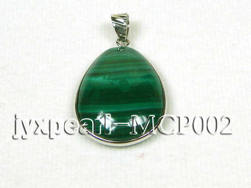 32x25mm green drop-shaped malachite pendant with sterling silver big Image 1