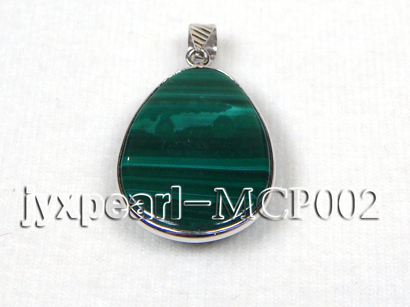 32x25mm green drop-shaped malachite pendant with sterling silver big Image 2