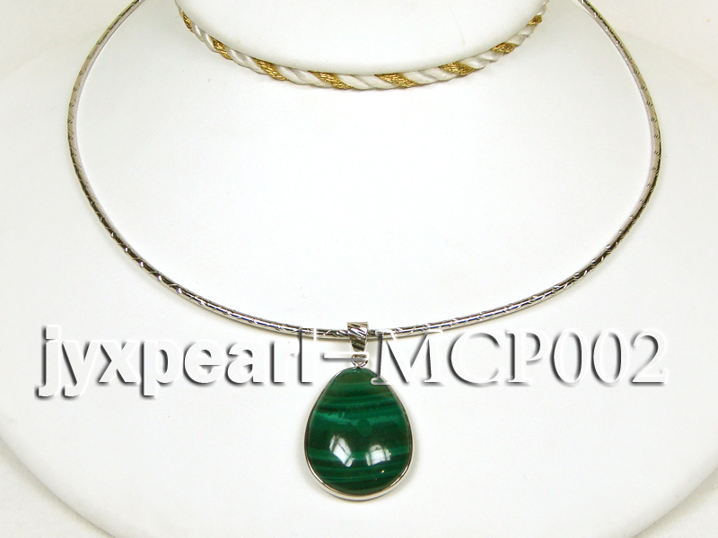 32x25mm green drop-shaped malachite pendant with sterling silver big Image 3