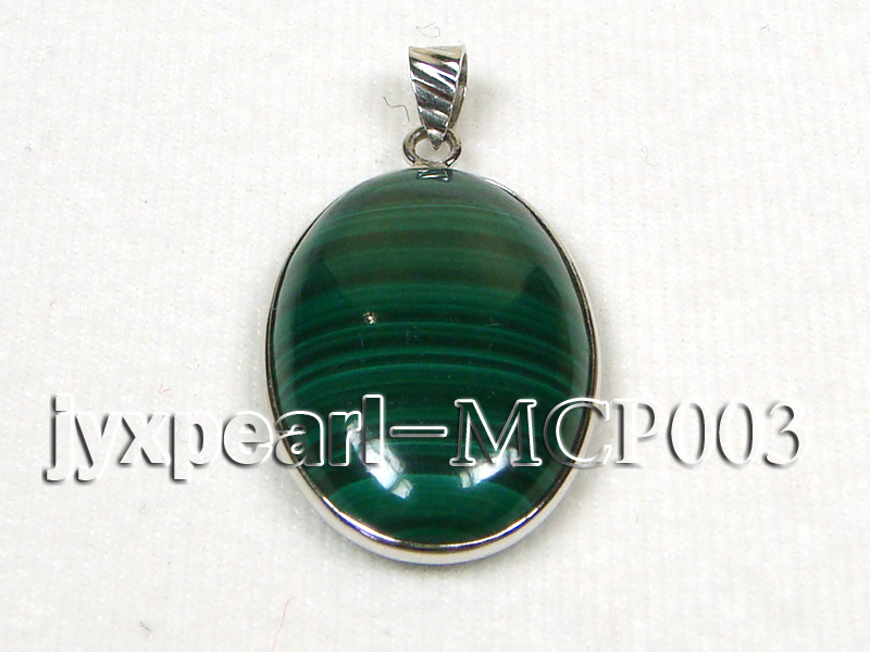 30x20mm green peacock oval malachite pendant with sterling silver big Image 1