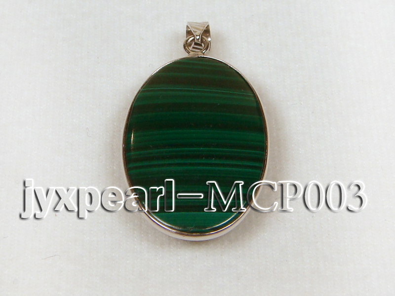 30x20mm green peacock oval malachite pendant with sterling silver big Image 2