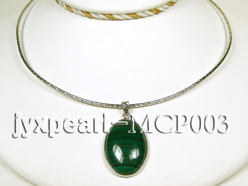 30x20mm green peacock oval malachite pendant with sterling silver big Image 3