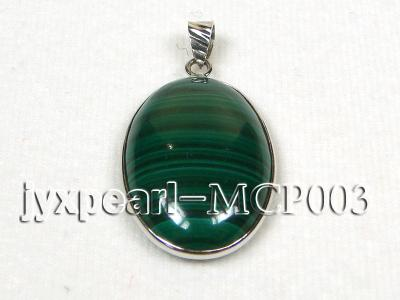 30x20mm green peacock oval malachite pendant with sterling silver MCP003 Image 1