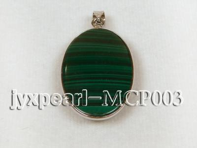 30x20mm green peacock oval malachite pendant with sterling silver MCP003 Image 2