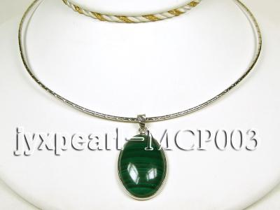30x20mm green peacock oval malachite pendant with sterling silver MCP003 Image 3