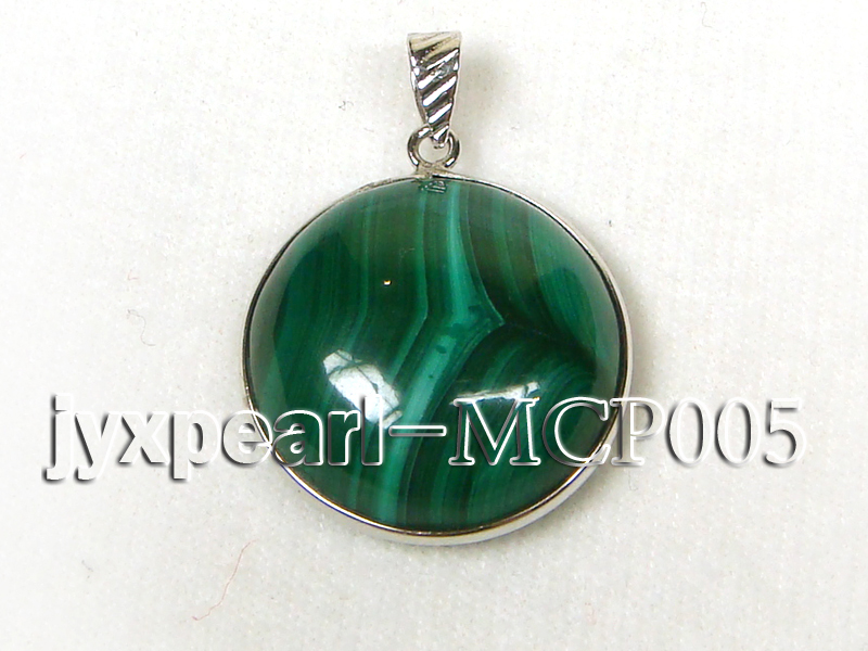 22x22mm green peacock round malachite pendant with sterling silver big Image 1
