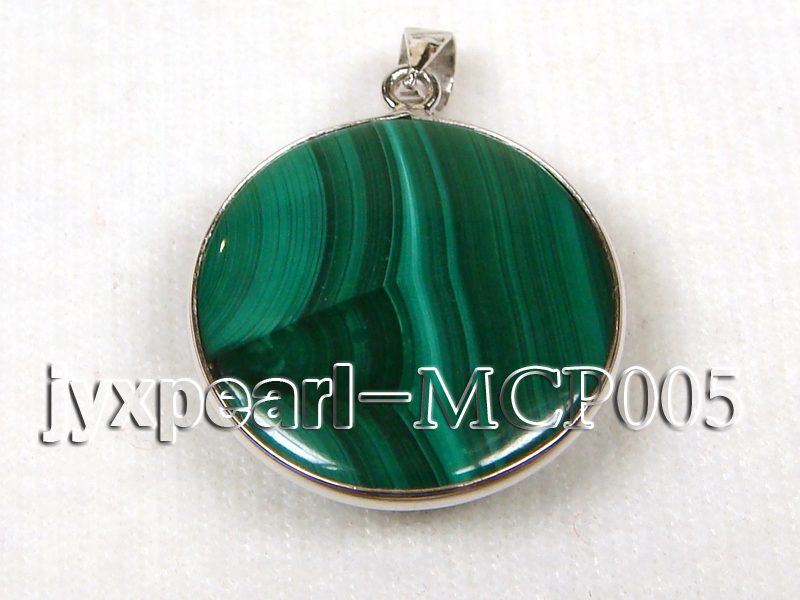 22x22mm green peacock round malachite pendant with sterling silver big Image 2