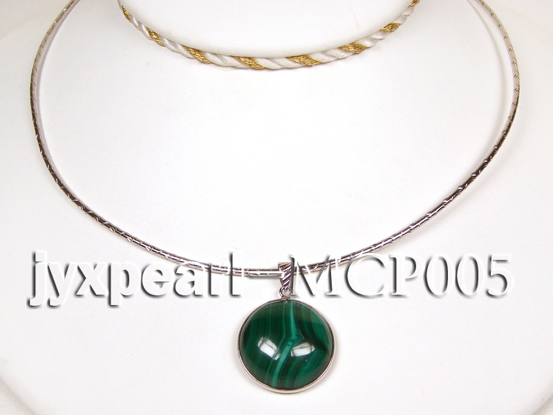 22x22mm green peacock round malachite pendant with sterling silver big Image 3