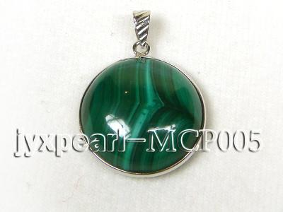 22x22mm green peacock round malachite pendant with sterling silver MCP005 Image 1