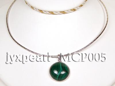 22x22mm green peacock round malachite pendant with sterling silver MCP005 Image 3