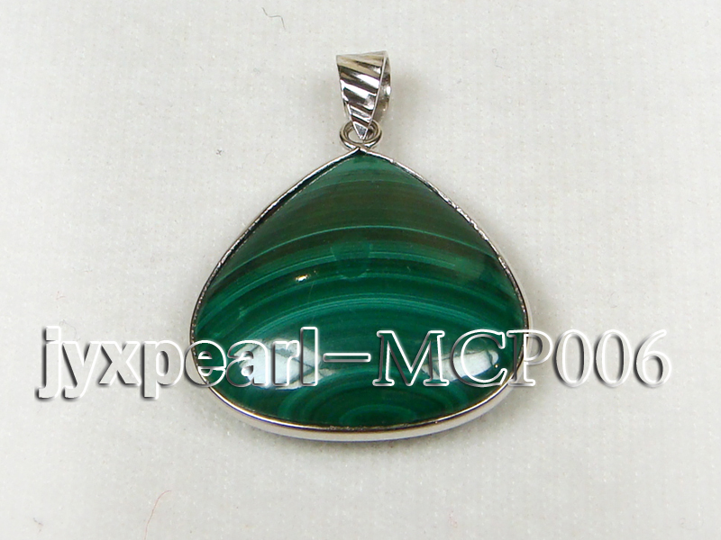 25x25mm green peacock heart-shaped malachite pendant with sterling silver big Image 2