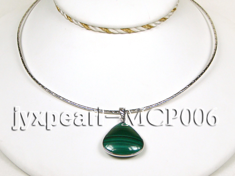 25x25mm green peacock heart-shaped malachite pendant with sterling silver big Image 3