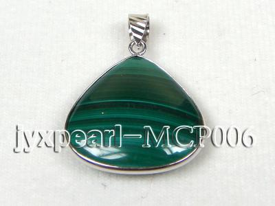 25x25mm green peacock heart-shaped malachite pendant with sterling silver MCP006 Image 1