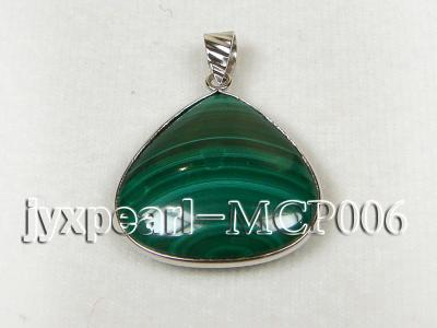 25x25mm green peacock heart-shaped malachite pendant with sterling silver MCP006 Image 2