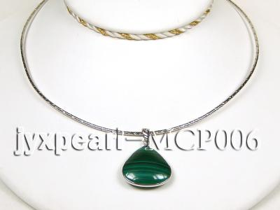 25x25mm green peacock heart-shaped malachite pendant with sterling silver MCP006 Image 3
