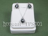 12.7x13.0mm black tahitian pearl necklace set with soild 14k white gold chain TPS001