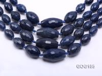 Wholesale 9*13-20*35mm Ink Blue Faceted Oval Gemstone String GOG185
