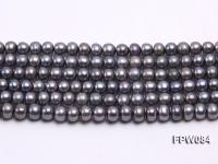 Wholesale 6x7.5mm Black Flat Cultured Freshwater Pearl String FPW084