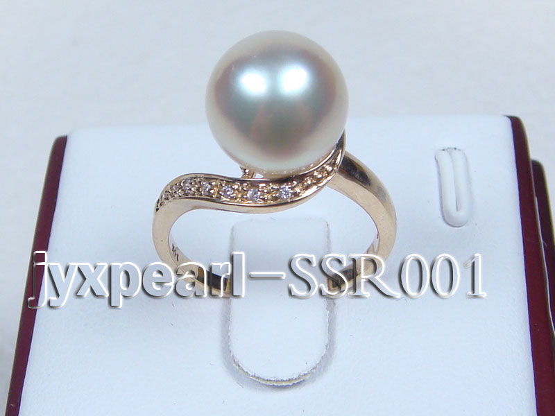 10.6mm white round south sea pearl ring with 14k yellow gold and zircons big Image 1